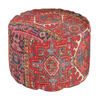 Antique Oriental Turkish or Persian Carpet Print Pouf