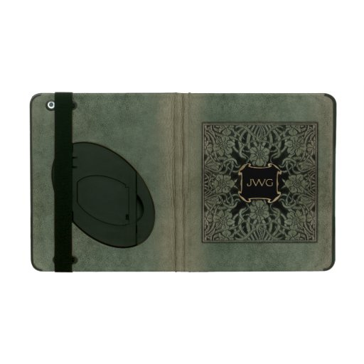 Antique Ornate Leather Monogram Book Cover iPad Cover