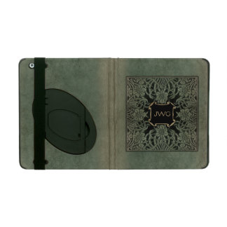 Antique Ornate Leather Monogram Book Cover iPad Covers