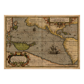 Antique Ortelius Map of the Pacific Sea Poster