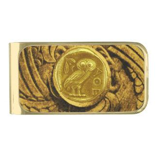 ANTIQUE OWL GOLD FINISH MONEY CLIP
