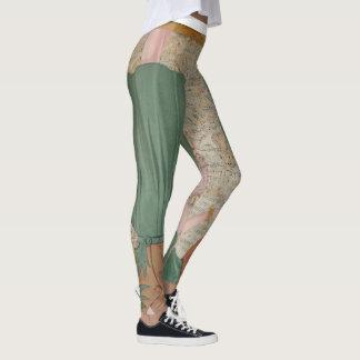 Antique Paper Doll Woman Print Leggings