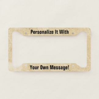 Antique Paper Scratchy Personalised Licence Plate Frame
