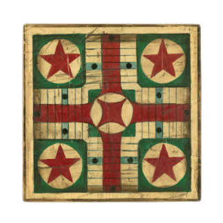 Antique Parcheesi Game Board by Ethan Harper Wood Coaster