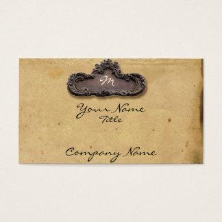 Antique Parchment and Brass Plaque Business Card