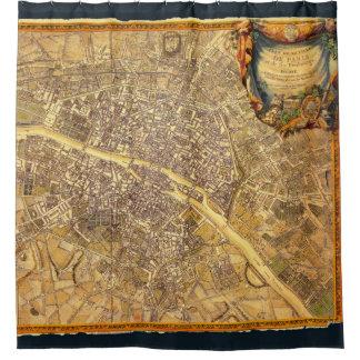 Antique Paris Map 1765 Worn Edge Vintage France Shower Curtain