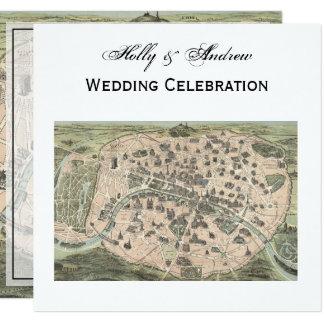 Antique Paris Map, DIY BG SQ Wedding 13 Cm X 13 Cm Square Invitation Card