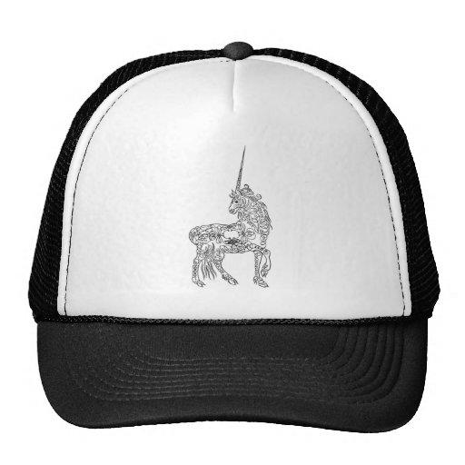Antique Pen Flourish Calligraphy Unicorn Trucker Hats