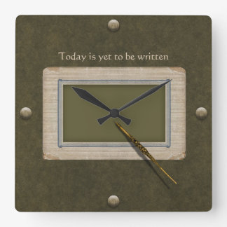 Antique Pen Ready to Write the Story of Today Square Wall Clock