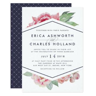 Antique Peony   Blush and Navy Wedding Invitation