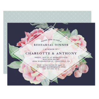 Antique Peony Rehearsal Dinner Invitation