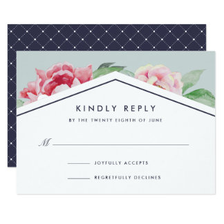 Antique Peony RSVP Card | Blush and Sage