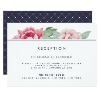Antique Peony Wedding Reception Card