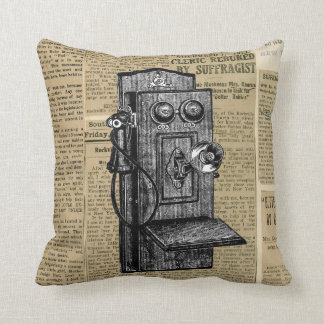Antique Phone on Vintage Newsprint Throw Pillow