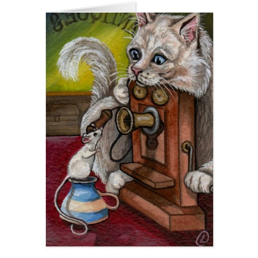 ANTIQUE PHONE White Cat Mouse Card