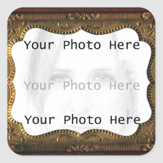 Antique Photo Frame Square Sticker