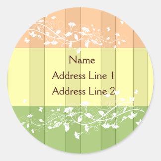 Antique Pink Green Stripe Address Labels Round Sticker