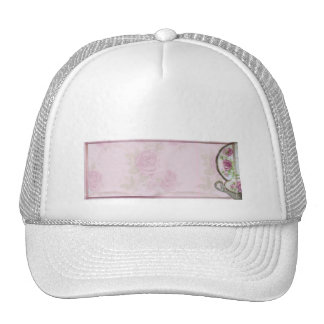 Antique Pink Rose Tea Cup on Mauve Mesh Hat