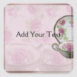 Antique Pink Rose Tea Cup on Mauve Square Stickers