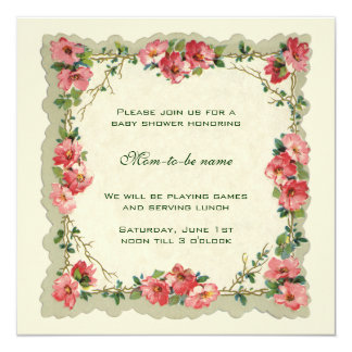 Antique Pink Roses Flowers Floral  Baby Shower Card