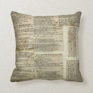 Antique Poetry Paper Clippings Cushion