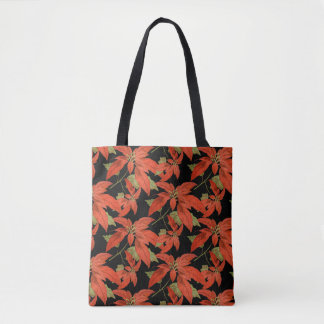 Antique Poinsettia Pattern Christmas Tote Bag