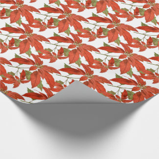 Antique Poinsettias Red and Green Christmas Wrapping Paper