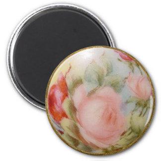 Antique Porcelain Button Art, Roses Fridge Magnets