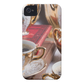 Antique porcelain coffee cups with coffee iPhone 4 cases