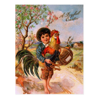 Antique Post Card Easter Boy Rooster Gorgeous