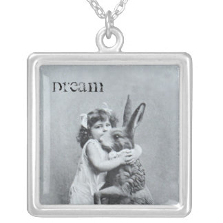 Antique Post Card Girl Easter Bunny Dream Square Pendant Necklace