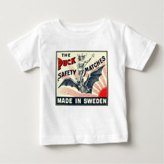 Antique Puck Riding Bat Swedish Matchbox Label Baby T-Shirt