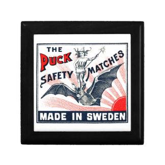 Antique Puck Riding Bat Swedish Matchbox Label Gift Box