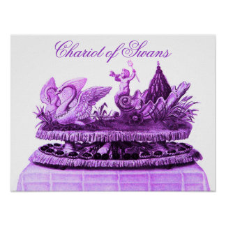 ANTIQUE PURPLE CHARIOT OF SWANS AND CUPCAKES POSTERS