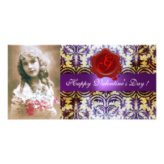 ANTIQUE PURPLE DAMASK RED WAX SEAL Monogram Personalized Photo Card