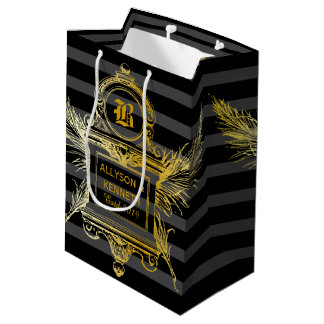 Antique Quill Feathers Classic Gold Frame Monogram Medium Gift Bag