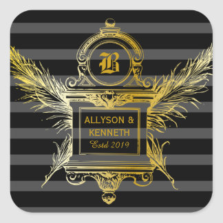 Antique Quill Feathers Classic Gold Frame Monogram Square Sticker