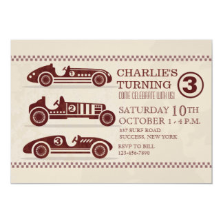 Antique Racing Cars Invitation
