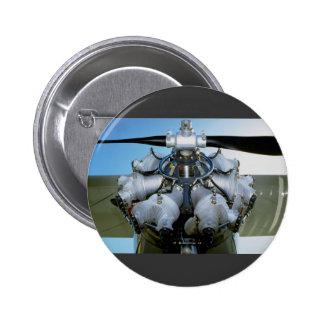 Antique radial engine with prop 6 cm round badge