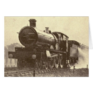 Antique Railroad Engine Card