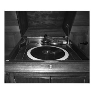Antique Record Player Black And White Photo