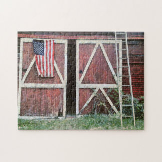 Antique Red Barn Doors With Flag & Orchard Ladder Jigsaw Puzzle