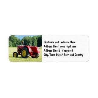 Antique Red Farm Tractor Return Address Label