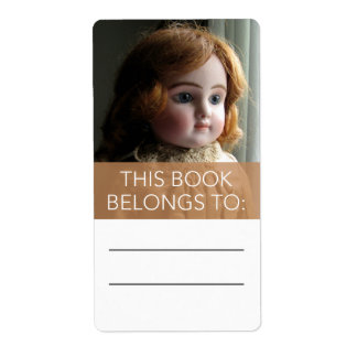 Antique Red Head Doll Bookplate Sticker