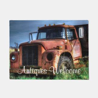 Antique Red International Pickup Truck Doormat