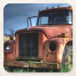 Antique Red International Pickup Truck Square Paper Coaster