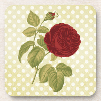 Antique Red Rose Parchment Polka Dots Drink Coasters