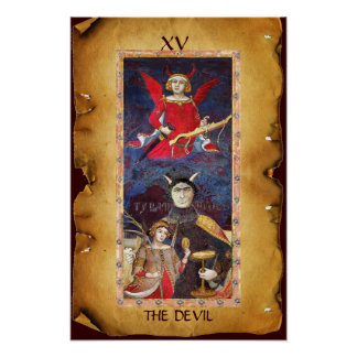 ANTIQUE RENAISSANCE TAROTS  15 / THE DEVIL POSTER