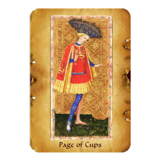 ANTIQUE RENAISSANCE TAROTS  / PAGE OF CUPS 9 CM X 13 CM INVITATION CARD