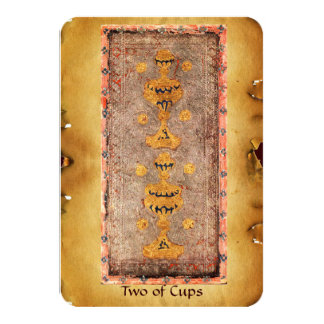 ANTIQUE RENAISSANCE TAROTS  / TWO OF CUPS 9 CM X 13 CM INVITATION CARD